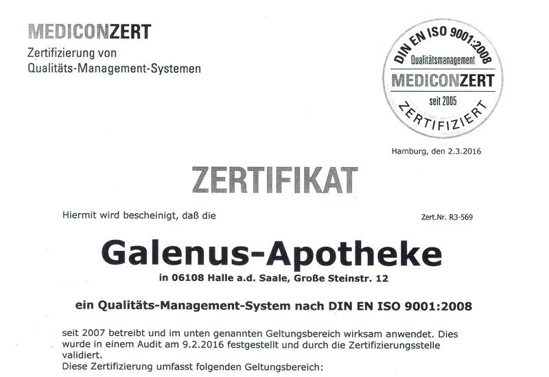 Galenus Apotheke Zertifikat